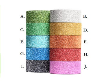 SALE! Glitter Washi Tape roll metallic powder scrapbooking planner supplies Gift decoration wedding - 15mm X 5 metres