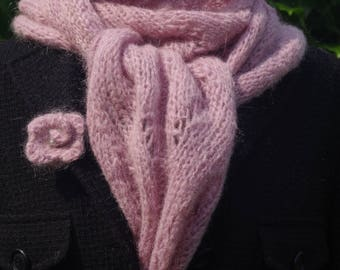 cuddly soft Alpaca mohair scarf in powder clay