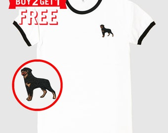 Rottweiler Dog Embroidered Ringer T-Shirt by 24PlanetsStudio
