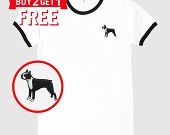 Boston Terrier Dog Embroidered Ringer T-Shirt by 24PlanetsStudio