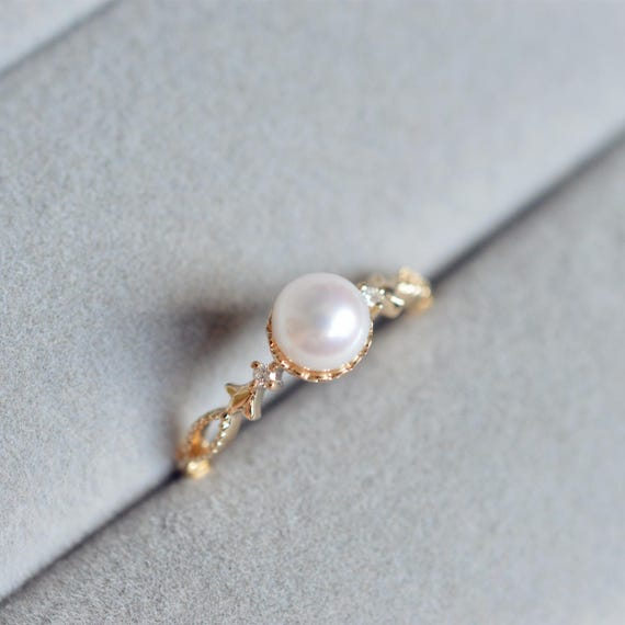 pearl wedding ring pearl engagement ring 18k gold vintage pearl engagement ring 6425