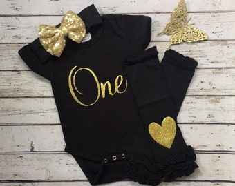 First Birthday outfit girl, black and gold onesie, black and gold 1st birthday, 1st Birthday girl outfit, cake smash outfit, black onesie