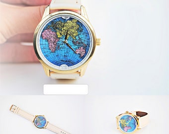 Globe watch etsy women watches world map watch womens watch womens watches women watch leather watch strap birthday gift gumiabroncs Image collections