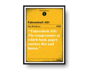 Fahrenheit 451 by Ray Bradbury poster, Fahrenheit 451 Dystopian Series Number 1, hand pulled Art screen print 50cm x 70cm size