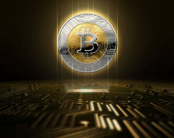 Cryptocurrency Bitcoin Hologram And Circuit Board