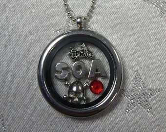 Sons of Anarchy - Inspired Bespoke Floating Charm Lockets (Jax/Sons/Clay/Motorbike/Guns/SAMCRO/California/Gifts for Her)