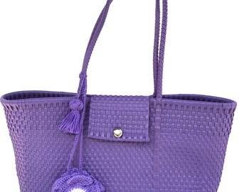 Satchel Hand Woven Bag, Plastic Handbag, Mexican Bag, Tote Plastic Bag, with Crochet Flower and Tassle