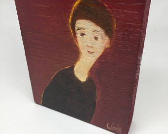 Small painting on wood, decorative gift - character on a red background