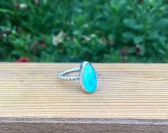 Turquoise Mountain Ring Size 6.75 / Turquoise Mountain Mine / Turquoise Ring / Sterling Silver Turquoise Ring / Blue Turquoise Jewelry