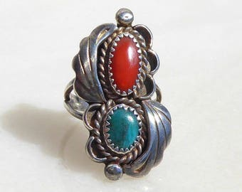 Navajo Sterling, Turquoise and Coral Ring by Robert Begay.
