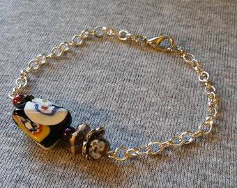 Millefiori and lampwork chain bracelet