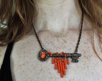 Antique wire wrapped skeleton key, orange sacral chakra