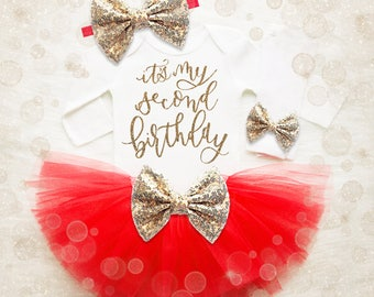 2nd Birthday Girl Outfit | Red And Gold 2nd Birthday Tutu Set | 2nd Birthday Shirt | 2nd Birthday Outfit | Girl Second Birthday Shirt