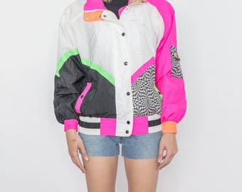 Vintage 90s Bright Pink and Black Bomber Jacket