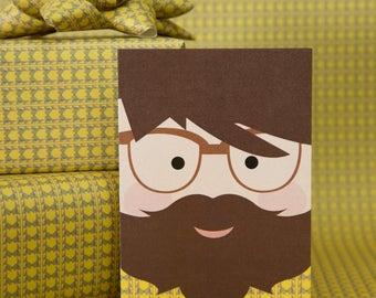 Birthday Card For Son | Male Birthday Card | Hipster Birthday Card | Boyfriend Birthday Card | Beard Card | Open Message Card | Card for Man