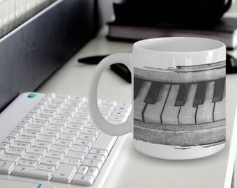 """Piano Mug - Piano Gifts """"Full Piano Keys Around Whole Mug"""" Black and Piano Piano Mug"""
