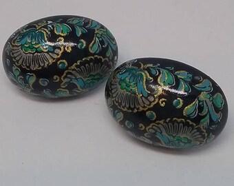 Cloisonne Enamel Earrings, Enamel Cloisonne Earrings, Enamel Cloisonne Black and Turquoise Earrings, Vintage Cloisonne Earrings