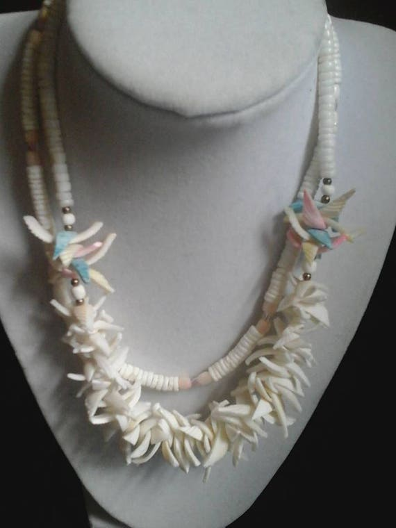 Two Shell Beaded Necklaces, Two Strands of Shell Beads, White Shell Beads, Unique Shell Statement Necklace, Beach Jewelry, Birthday Gift