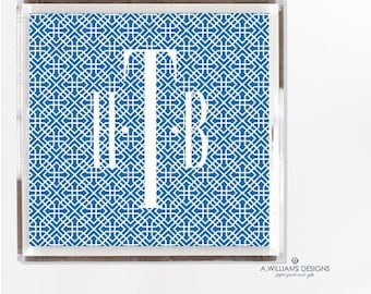 Monogram chinoiserie Tray/Blue and white luciteTray Monogrammed office desk organizer Tray/ Acrylic catch all in two sizes 6x6-12x12
