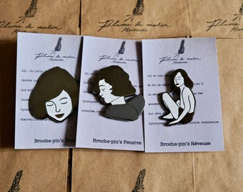 "Set of 3 badges - ""Poetic"" Collection"