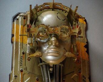 Steampunk Robot Wall Mask Steampunk Wall Decor Techno Art Technology Art Steampunk Sculpture Robot Futuristic Wall Art Decor Khaki Yellow