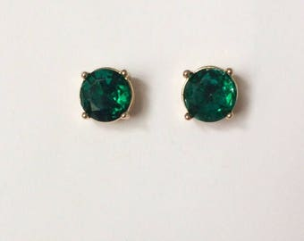 Vintage 1950's Emerald Green Foiled Back Studs Statment Earrings