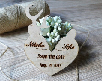 10 Wooden Save The Date Magnets Deers Wedding Favor Wooden Magnets Guest favor Wooden Magnets Heart Save The date Wooden Favor