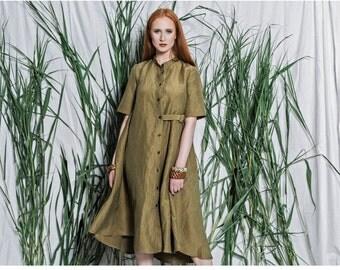 Linen loose dress - Oversized dress - Loose dress - Women linen dress - Summer linen dress - Linen midi dress - Linen dress green