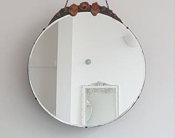 Large Round Vintage Barbola Mirror With Orange, Yellow And Greens And Original Chain
