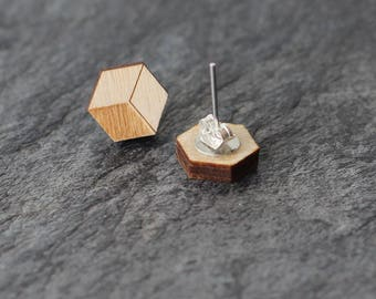 Minimalist 3D Earrings FSC Wood Jewelry Laser Cut Earrings Dainty and Small Natural Wood Stylish Jewelry Stainless Steel Studs 3D Look
