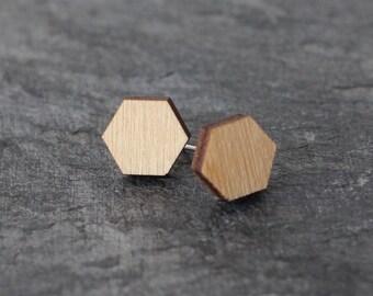 Hexagon Studs / Wooden Hexagon / Bee Earring / Simple Earring / Modern Earrings / Wooden Jewelry / Christmas Gift / Minimalist Holiday Gift