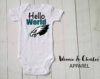 Hello World Onesie, Philadelphia Eagles Baby, Baby Take Home Outfit, Coming Home Outfit, Unisex Clothing, Baby Shower Gift