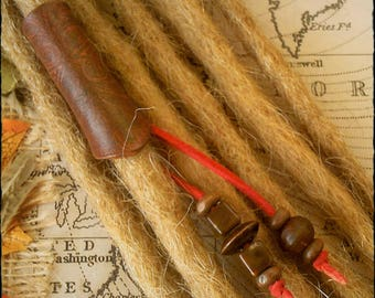 L/XL - Unique Hand Crafted, Up-Cycled, Genuine Leather Dread/Hair Cuff/Bead Beaded Tails.