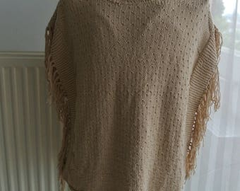 Sweater - Poncho - sweater with fringe
