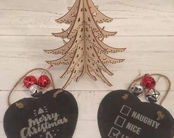 Engraved Christmas Slate Hearts