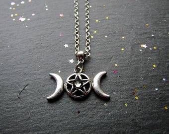 Triple Moon Necklace with Crystal, Pagan necklace, Triple Moon Necklace, Witch jewelry, Pagan Jewelry, Wicca Necklace, Triple Moon