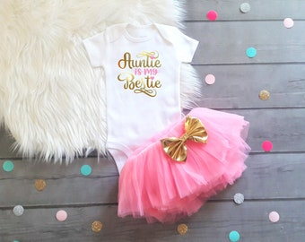 Baby Shower Gift Baby Girl Clothes Aunties Bestie Aunt Baby Shower Gift from Aunt Funny Aunt Baby shirt Aunt Baby Girl Outfit