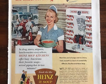 Vintage 1955 Magazine Ad for Heinz Soup Kitchens