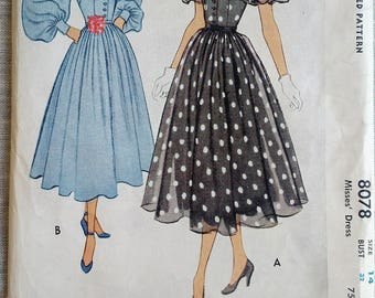 HARD TO FIND Year 1950 McCall Dress Sewing Pattern, # 8078, Bust 32, Size 14, Vintage Pattern, Retro, 50s, Elegant, Fashion, Dressmaking