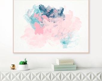 Abstract Print, Downloadable Painting, Pale Pink and Blue Print, Large wall Art, Pink and Navy Blue, Original Art