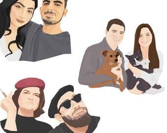 Couples portrait, Family portrait, Custom portrait, Personalized portrait, Pet portrait, Digital portrait, Illustration, Gift, Anniversary