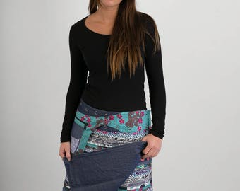 Reversible Cotton Skirt Grey Patch Denim Detachable Pocket Long Length