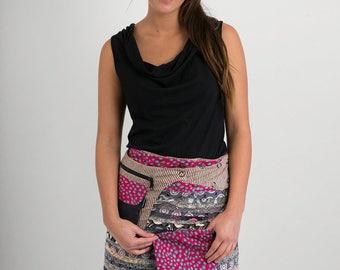 Reversible Cotton Skirt Grey Patch Pink Purple Print Detachable Pocket Medium Length