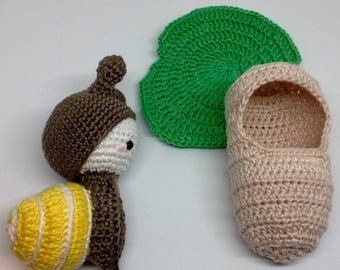 Snail crochet doll and accessories / child's toy
