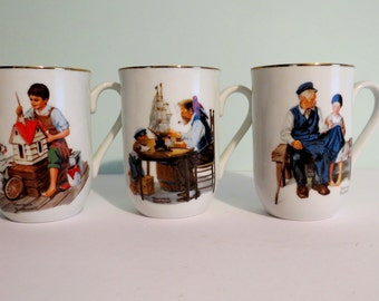 Vintage Norman Rockwell Mugs Set of 3 Mugs The Lighthouse Keeper's daughter For a Good Boy A Dollhouse for a Sis Collectible Mugs