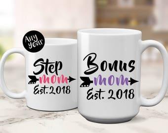 Bonus Mom Est | New Step Mom | New Bonus Mom | Gift for Step Mom | Gift for Bonus Mom | Mothers Day Gift | New Stepmom | Gift for Stepmom  |