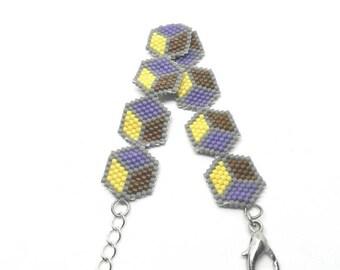 Hand woven bracelet with Japanese Miyuki beads - cubes