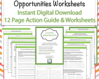 Worksheet Pages - Online Speaking Opportunities: Digital Download - Training and Worksheets and Checklists - Instant Access