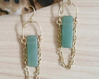 Gold and Aventurine Earrings