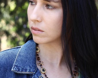 Double Stranded Tan, Black and Copper Beaded Necklace - FJ 11